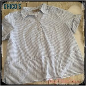 CHICO'S Blue White Striped Popover Henley Top